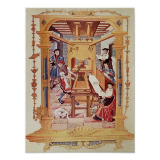 Interior of a 16th century printing works poster