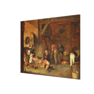 Interior of a barn with peasants warming themselve canvas print