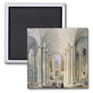 Interior of a Church 2 2 Inch Square Magnet