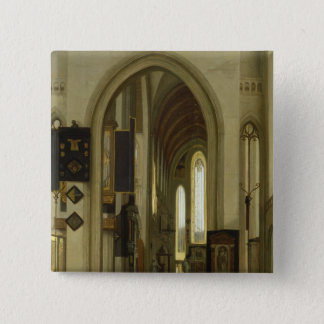 Interior of a Church with Figures, 1685 Pinback Button