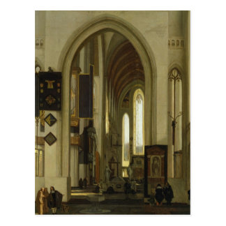 Interior of a Church with Figures, 1685 Postcard