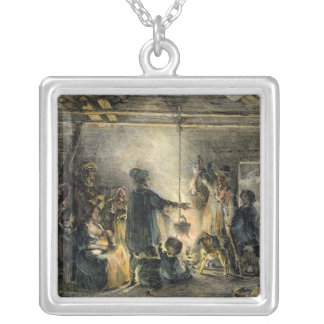 Interior of a Coal-Miner's Hut Silver Plated Necklace