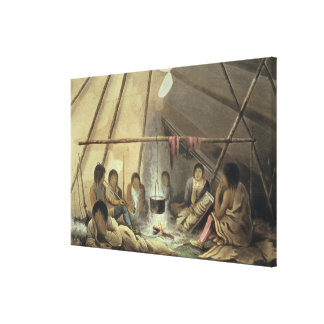 Interior of a Cree Indian Tent, March 25th 1820, f Canvas Print
