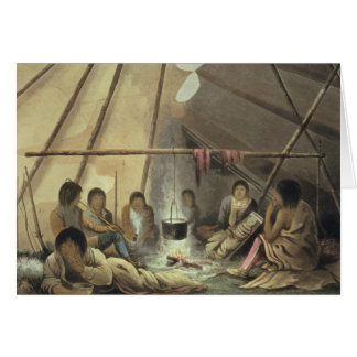 Interior of a Cree Indian Tent, March 25th 1820, f Card