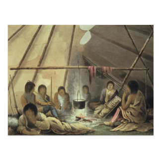 Interior of a Cree Indian Tent, March 25th 1820, f Postcard