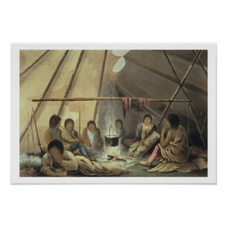 Interior of a Cree Indian Tent, March 25th 1820, f Poster