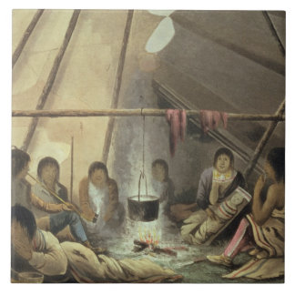 Interior of a Cree Indian Tent, March 25th 1820, f Tile