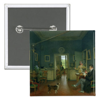 Interior of a Dining Room, 1816 2 Inch Square Button