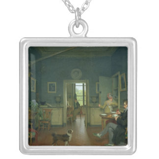 Interior of a Dining Room, 1816 Silver Plated Necklace