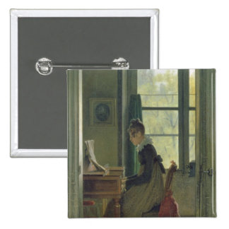 Interior of a Dining Room, detail of a woman 2 Inch Square Button