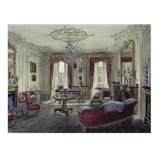 Interior of a drawing room postcard