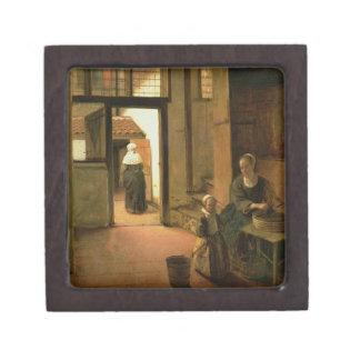 Interior of a Dutch House (oil on panel) Premium Keepsake Boxes