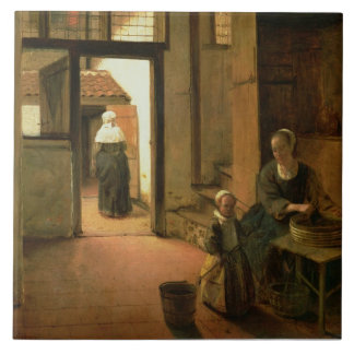 Interior of a Dutch House (oil on panel) Tile
