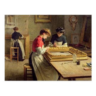 Interior of a Frame Gilding Workshop Postcard
