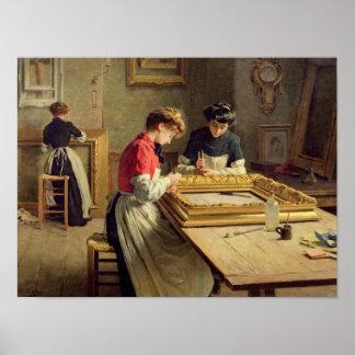 Interior of a Frame Gilding Workshop Poster