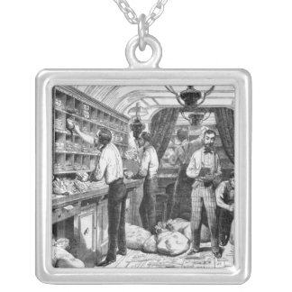 Interior of a French railway postal wagon Silver Plated Necklace