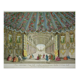 Interior of a Gallery Leading to Vauxhall Gardens Print