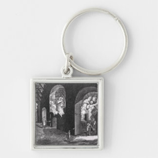 Interior of a Glass Factory Silver-Colored Square Keychain