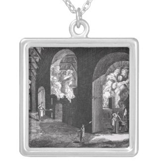 Interior of a Glass Factory Square Pendant Necklace