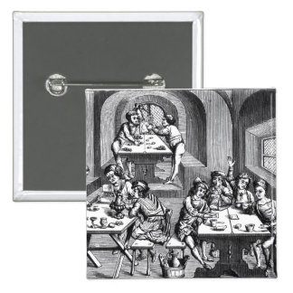 Interior of a hostelry, after a woodcut in a folio button
