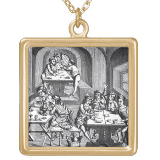Interior of a hostelry, after a woodcut in a folio gold plated necklace