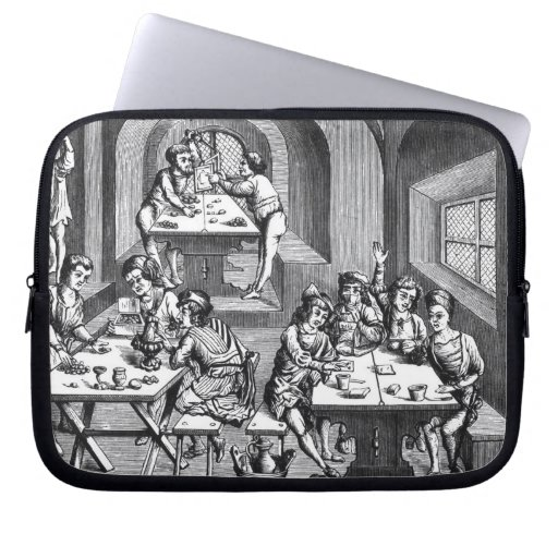 Interior of a hostelry, after a woodcut in a folio computer sleeves