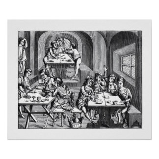 Interior of a hostelry, after a woodcut in a folio posters