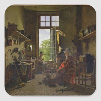 Interior of a Kitchen, 1815 Square Sticker