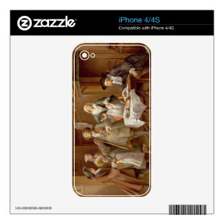 Interior of a Kitchen with Figures Tasting Wine Decal For iPhone 4