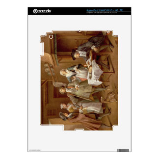 Interior of a Kitchen with Figures Tasting Wine iPad 3 Decals