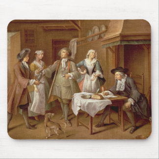 Interior of a Kitchen with Figures Tasting Wine Mouse Pad