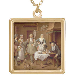 Interior of a Kitchen with Figures Tasting Wine Square Pendant Necklace