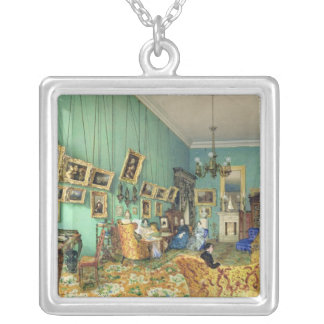 Interior of a living room, 1847 square pendant necklace