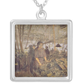Interior of a Munitions Factory Silver Plated Necklace