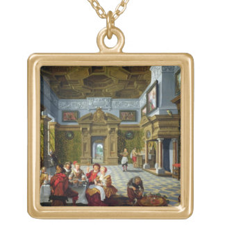Interior of a Palatial Room, 1622 (oil on canvas) Gold Plated Necklace