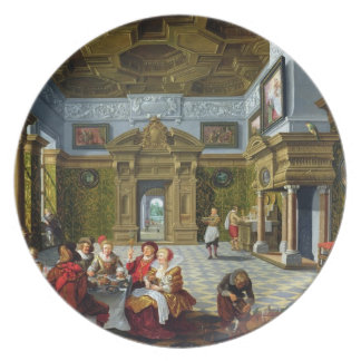 Interior of a Palatial Room, 1622 (oil on canvas) Melamine Plate