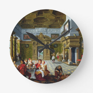 Interior of a Palatial Room, 1622 (oil on canvas) Round Clock