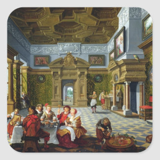 Interior of a Palatial Room, 1622 (oil on canvas) Square Sticker