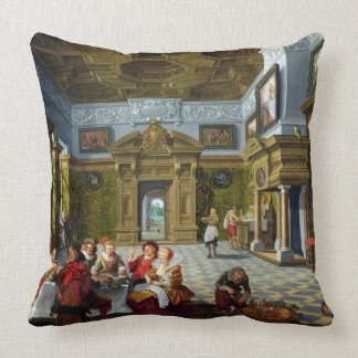 Interior of a Palatial Room, 1622 (oil on canvas) Throw Pillow
