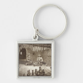 Interior of a Potter's Workshop, from Volume II Ar Silver-Colored Square Keychain