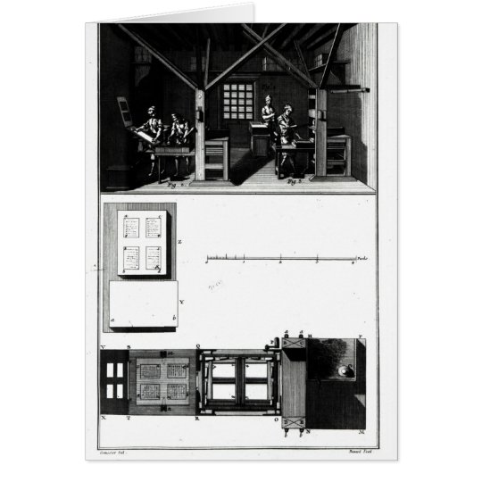 Interior of a Printing Works and Plan Card
