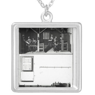 Interior of a Printing Works and Plan Silver Plated Necklace