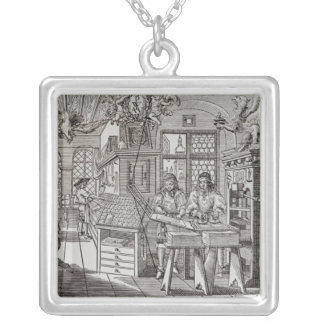 Interior of a printing works in Nuremberg Silver Plated Necklace