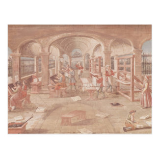 Interior of a Printing Works in the 16th Century Postcard