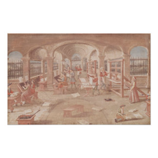 Interior of a Printing Works in the 16th Century Poster