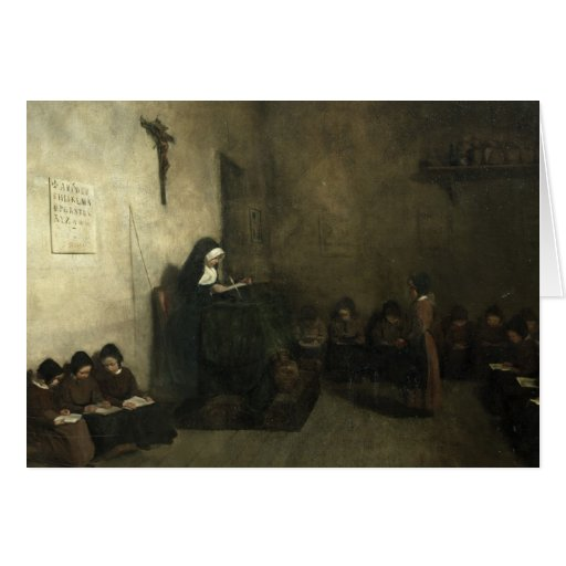 Interior of a School for Orphaned Girls, 1850 Card