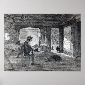 Interior of a settler's hut in Australia Poster