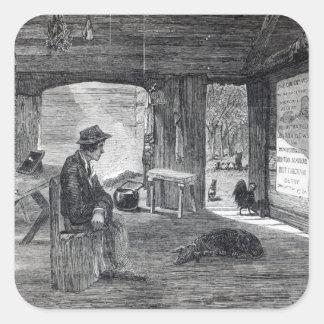 Interior of a settler's hut in Australia Square Sticker