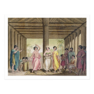 Interior of a Tahitian house with dancing girls, i Postcard