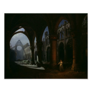Interior of an Abbey in Ruins, 1848 Poster